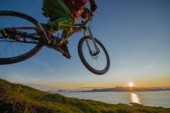 Arctic midnight sun downhill biking